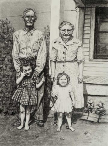 """Family Portrait on Peanut Farm in Texas"""